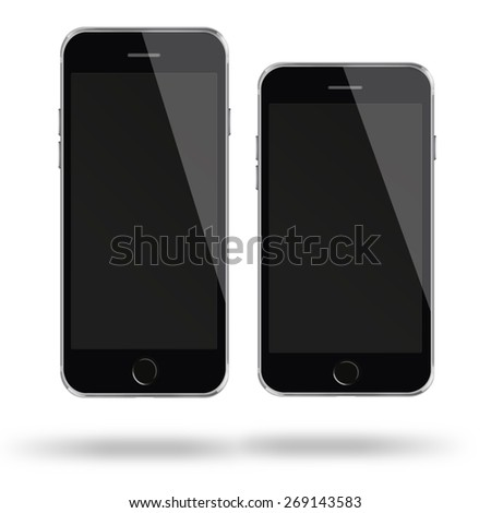 Mobile smart phones iphon style mockup with black screen isolated on white background. Highly detailed illustration.
