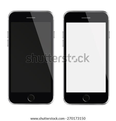 Mobile smart phones iphon style mockup with white and blank screen isolated on white background. - stock photo