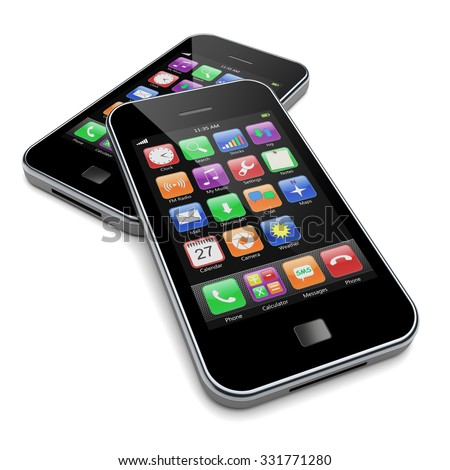 Mobile smart phones with black screen and colorful apps. 3d image