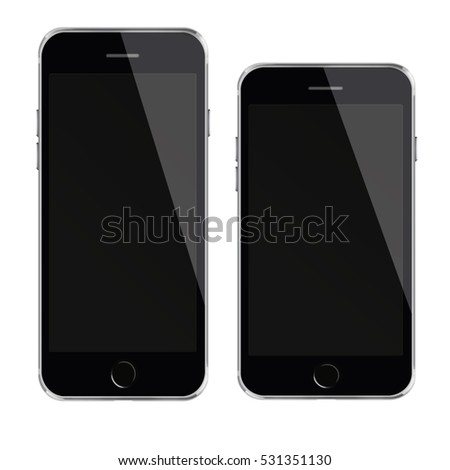 Mobile smart phones with black screen isolated on white background. 3D illustration.