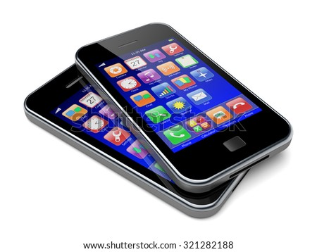 Mobile smart phones with blue screen and colorful apps. 3d image