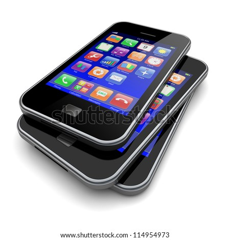 Mobile smart phones with blue screen and colorful apps. Technology concept. 3d image