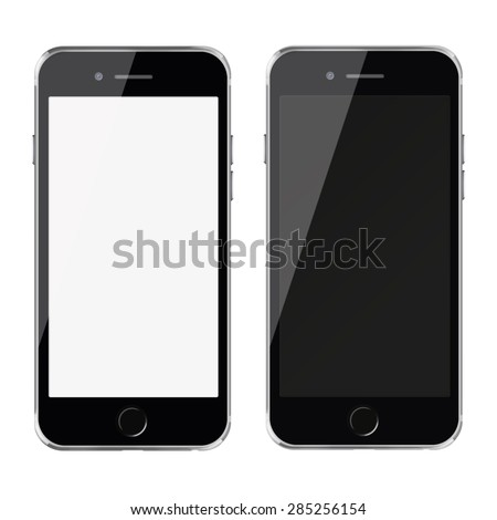 Mobile smart phones with white and blank screen iphon style mockup isolated on white background. - stock photo