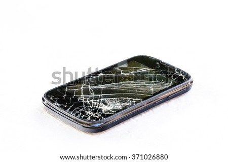 Mobile smartphone and screen damage broken isolated on white background - stock photo