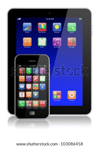 Mobile smartphone and tablet PC with touchscreen and colorful apps . Isolated on a white. 3d image - stock photo