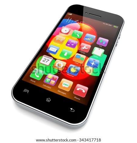 Mobile smartphone with colorful bokeh wallpaper and apps on a screen. 3d image  - stock photo