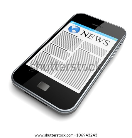 Mobile smartphone with news on a touchscreen. Isolated on a white. 3d image