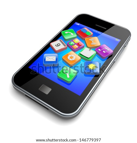 Mobile smartphone with software apps icons . 3d technology concept