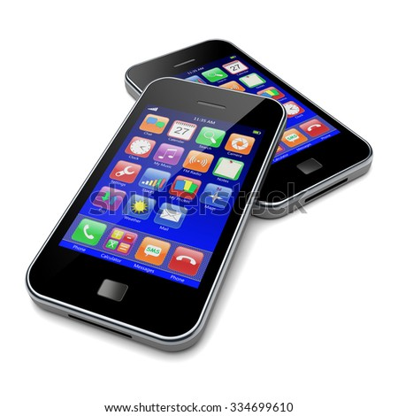 Mobile smartphones with blue screen and colorful apps. 3d image