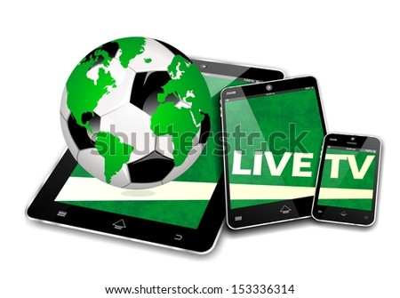 MOBILE SOCCER DEVICES, LIVE TV INTERNET BROADCAST - stock photo