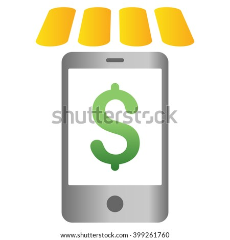 Mobile Store glyph toolbar icon for software design. Style is a gradient icon symbol on a white background. - stock photo