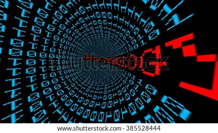 Mobile technology data tunnel - stock photo