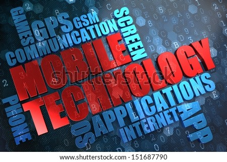 Mobile Technology - Wordcloud Concept. The Word in Red Color, Surrounded by a Cloud of Blue Words. - stock photo