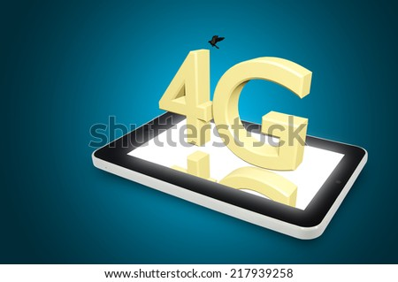Mobile telecommunication cellular high speed data connection concept: 4G LTE wireless communication technology logo, symbol, icon or button on touchscreen smartphone with interface - stock photo