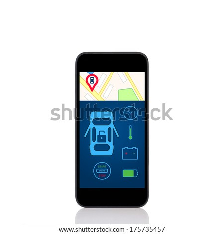 mobile touch phone with car alarm interface on a screen