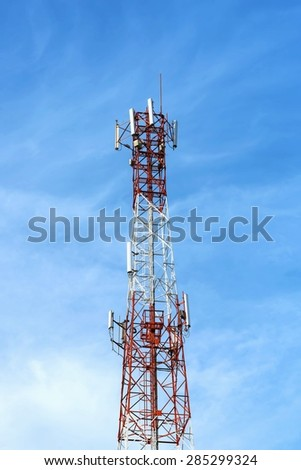 Mobile tower communication antennas  - stock photo
