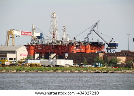 Mobile, USA - May 23rd, 2016: Offshore oil rig in dock for maintenance at Mobile harbour in Alabama, USA.