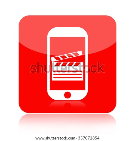 Mobile video and movie icon isolated on white background - stock photo