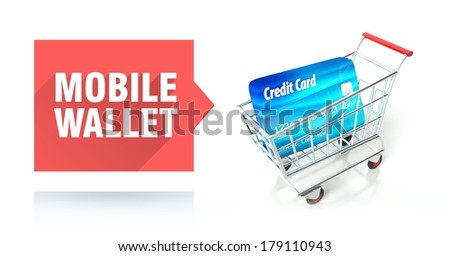 Mobile wallet concept with credit card and shopping cart