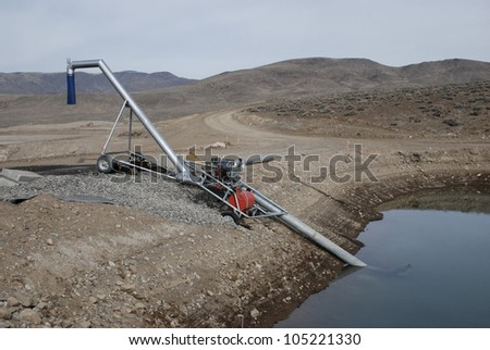 Mobile water pumping station for construction site - stock photo