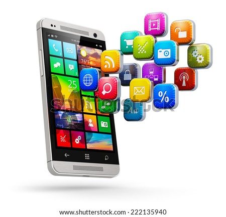 Mobile web applications, business software and social media networking service internet concept: modern glossy touchscreen smartphone with cloud of color application icons isolated on white background - stock photo