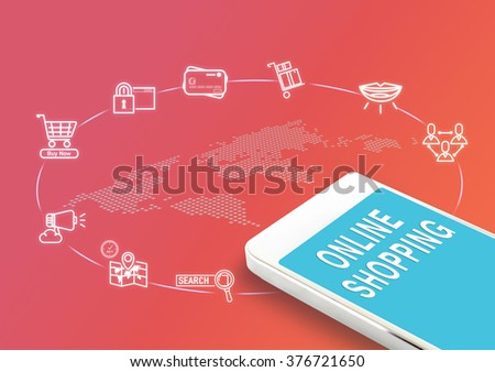 Mobile with Online shopping word and icons, Digital business Marketing concept. - stock photo