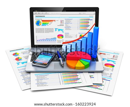 Mobile work, stock exchange, statistics accounting and banking business concept: laptop with stock market application, bar chart, pie diagram, pen and smartphone on financial reports isolated on white