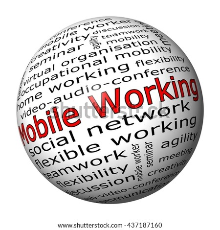 mobile working wordcloud - 3D illustration