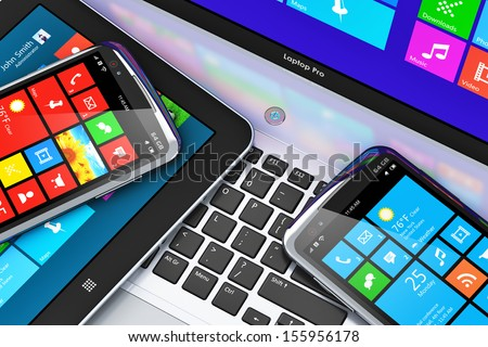Mobility and business telecommunication technology concept: modern mobile devices with touchscreen interface - office laptop or notebook, tablet computer PC and black glossy smartphone or mobile phone - stock photo
