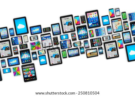 Mobility and digital wireless communication technology business concept: group of tablet computers and smartphones with colorful display screen interfaces with icons isolated on white background - stock photo