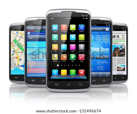 Mobility and modern wireless communication concept: group of metal black glossy touchscreen smartphones with different applications isolated on white background with reflection effect - stock photo