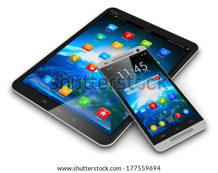Mobility and modern wireless telecommunication technology business concept: tablet computer PC and metal black glossy touchscreen smartphone with colorful interface isolated on white background - stock photo