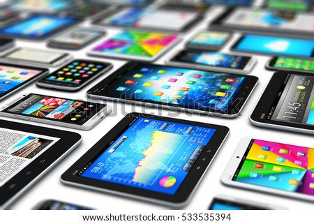 Mobility digital wireless communication technology business concept: 3D render of tablet computer PC and smartphones or mobile phones with internet web apps with icons and buttons isolated on white