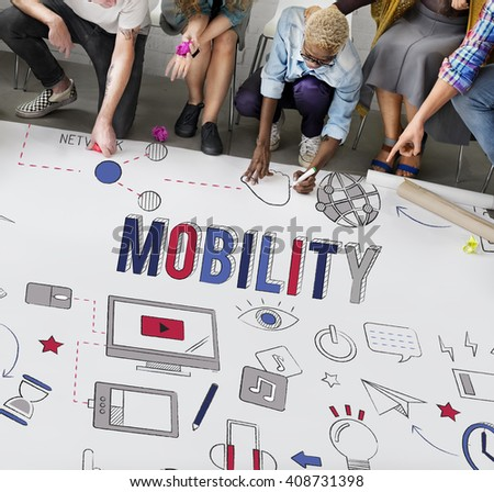Mobility Global Communication Digital Connection Concept - stock photo