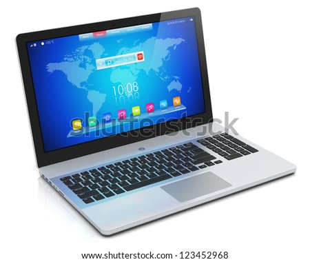 Mobility PC computer concept: modern aluminum business laptop or metal silver office notebook with blue screen interface isolated on white background with reflection effect
