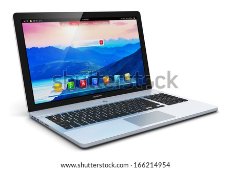 Mobility PC computer web technology and internet communication concept: modern aluminum business laptop or metal silver office notebook with color screen interface isolated on white background - stock photo