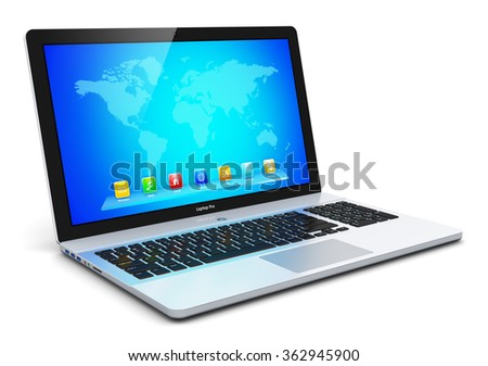 Mobility PC computer web technology and internet communication concept: modern business laptop or office notebook with color screen with application icons and app buttons isolated on white background - stock photo