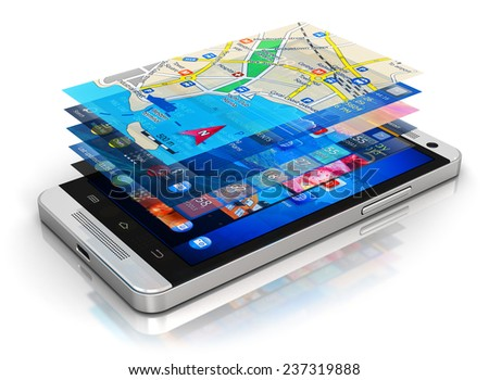 Mobility, wireless communication and app downloading internet web business concept: smartphone with group of color application screen interfaces with icons and buttons isolated on white background - stock photo