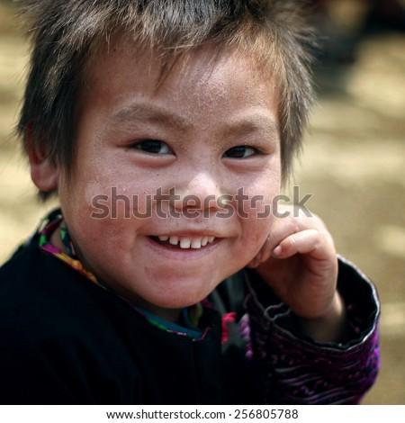 Moc Chau - Son La - Vietnam, on 17 April 2013: An ethnic Hmong children in Son La, Vietnam. - stock photo