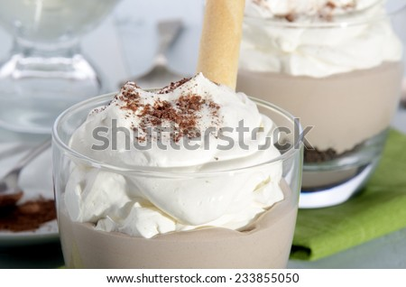 mocca cream dessert with whipped cream, cocoa powder and biscuit roll