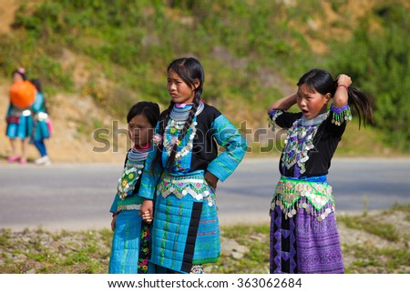 Mocchau, Sonla, Vietnam: Childrens ethnic minority playing in festival Hmong New Year in North Vietnam on Jan 10,2016. H'mong is the 8th largest ethnic group in Vietnam