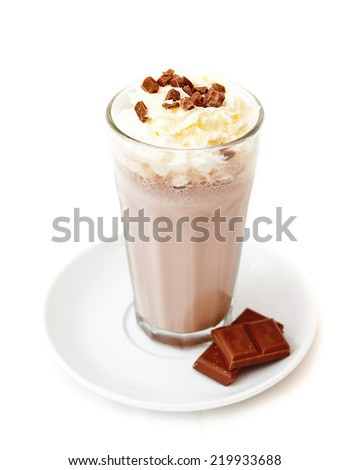 Mocha coffee.Mocha coffee prepared by italian way with traditional coffee. Presented with whipped-cream on the top and chocolate pieces. Presented on a white plate