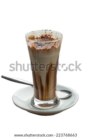 Mocha coffee with chocolate and powder