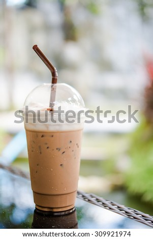 Mocha iced coffee on the table, - stock photo