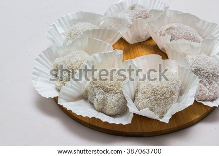 mochi or sticky rice balls filled with variety of flavors