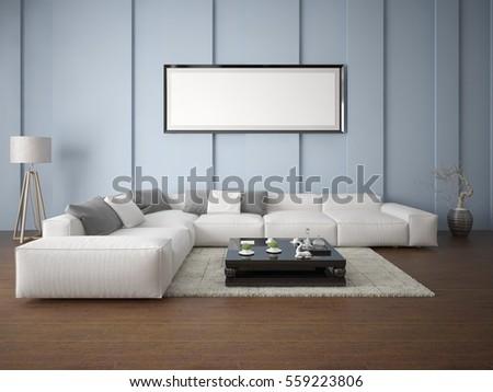 Mock Fashionable Living Room Large Comfortable Stock Illustration ...
