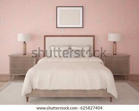 Mock up bedrooms in classic style with a fashion bed  3d rendering. Mock Bedrooms Classic Style Fashion Bed Stock Illustration