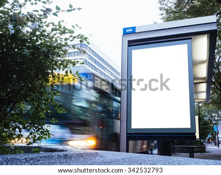 Mock up Billboard Light box at Bus Stop with Road and cars moving