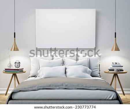 mock up blank poster on the wall of bedroom, 3D illustration background - stock photo