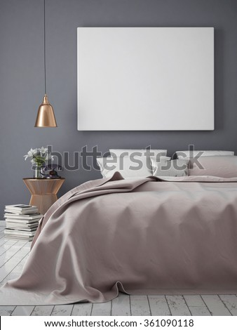 mock up blank poster on the wall of bedroom, 3D rendering - stock photo
